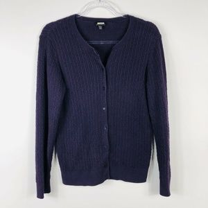 Talbots Purple Cable Knit Cardigan Sweater Large